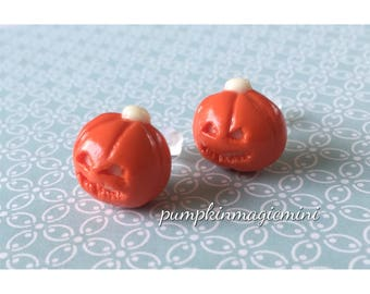 Handmade Pumpkin Glow in the dark Polymer Clay earrings