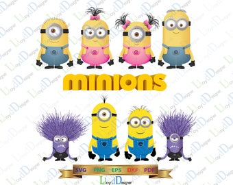 Minions SVG Minions clip art Girl minion Monster SVG decoration Minion Birthday party invitation svg eps dxf png cut files for cameo cricut