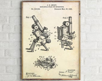 Microscope Patent Print. Stage For Microscope Patent Print. Microscope Poster. Microscope Blueprint. Chemistry Wall Art. Laboratory art.