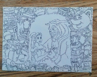 A5 Beauty and the Beast drawing