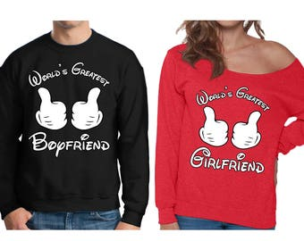 World's Greatest Girlfriend Off Shoulder Sweatshirt World's Greatest Boyfriend Sweater Cute Couples Gifts for Valentine's Day Sweaters