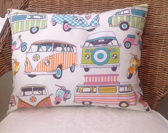 Retro hippy camper van cushion cover