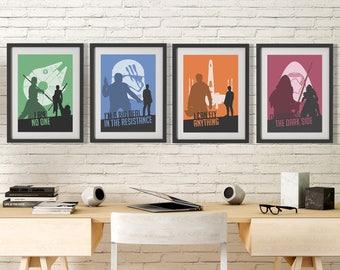 Star Wars Poster Set, Rey Print, Kylo Ren Poster, Finn Wall Art, Poe Dameron Print, Star Wars Wall Decor, Minimalist Star Wars, Geek Decor