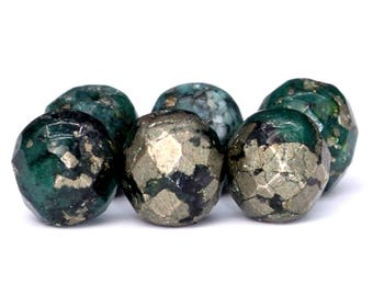 103 / 52 Pcs - 4MM Dark Green Pyrite Beads Grade AAA Faceted Round Gemstone Loose Beads (102148-497)