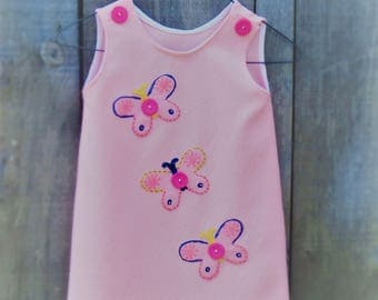 Hand made, Hand painted Girl's pink dress from Upcycled Vintage fabric. Age 3. Butterfly detailing.