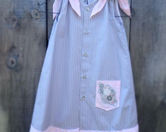 Upcycled GIrl's dress from a men's shirt.  Pink and grey dress age 7.