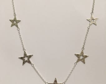 0.5 Silver Sixpence and Threepence Stars Necklace