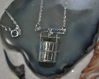 Sterling Silver Bar Wishing Well Pail Necklace