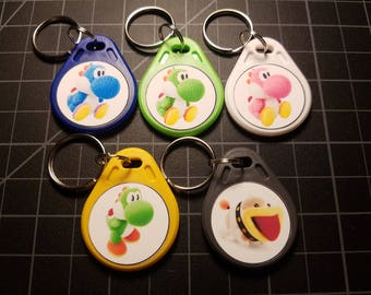 5 Full Set Yoshi Wooly World Amiibo NFC WATERPROOF Keychain Card Tags Light Blue Green Pink Mega Poochy Switch 3DS Wii U Breath of the Wild