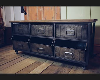 Industrial Style Sideboard/TV Cabinet with Wood and Metal Details