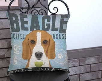 Beagle Coffee House pillow cover