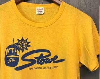 S/M * Vintage 70s Ski STOWE Vermont t shirt