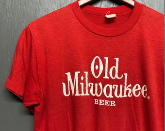 M thin vintage 80s perfectly trashed Old Milwaukee Beer t shirt
