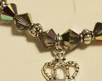 Swarovski Crystal bracelet with crown charm