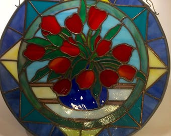 "Red Tulips in Vase 13"" Round Stained Glass Panel Wall Hanging"