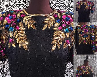 Ballroom Blitz Sequin Vintage 80's Party Party Dress!