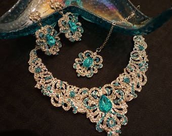 Indian Wedding Bridal Aqua Blue Stone Silver Tone Fashion Jewelry Set