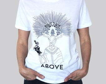 "silkscreen t-shirt ""ABOVE"" designed by the artist Thierry Kupferschmid aka 22bumblebees.com"