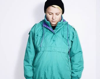 Vintage seasonal puff jacket 80's | Old fashioned green pullover