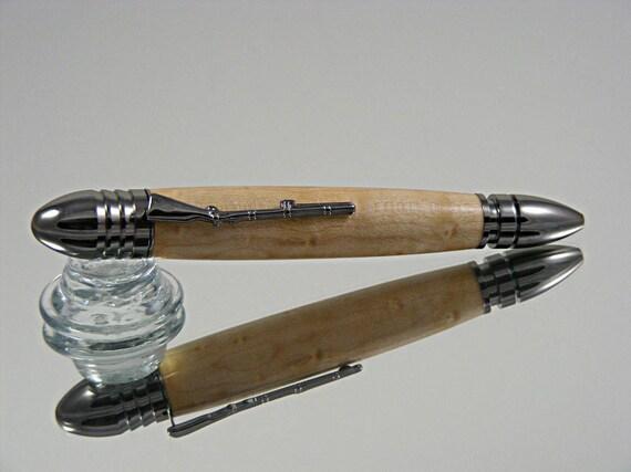 Handcrafted Civil War Ink Pen in Gun Metal and Birds Eye Maple