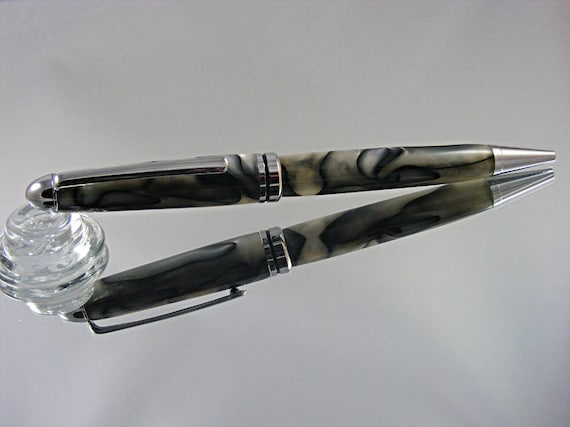 Handcrafted Classic Pen in Chrome and Spalted Pearl Acrylic