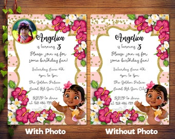 Personalized Baby Moana Photo Card Birthday Invitation Invite Printable Pink White Stripes Gold Confetti Hibiscus Flowers DIY - Digital File