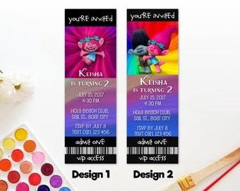Trolls Poppy Branch Birthday Party VIP Ticket Invitation Access Pass Invite Printable DIY - Digital File