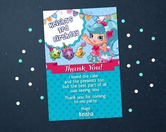 Personalized Shopkins Shoppies Thank You Card Jessicake  Birthday Party Light Blue Polka Dots Printable DIY - Digital File