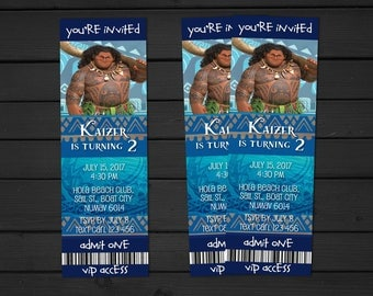 Personalized Moana Maui Birthday Party Ticket Invitation Access Ticket - DIY Printables for Birthday Parties