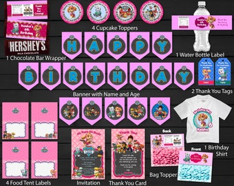 Paw Patrol Birthday Party Package Kit Bundle For Girl Banner Skye Invitation Thank You Card Tags Bag Topper Printable DIY - Digital File