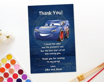 Personalized Cars 3 Thank You Card Fabulous Lightning Mcqueen Blue Race Cars Birthday Party Printable DIY - Digital File
