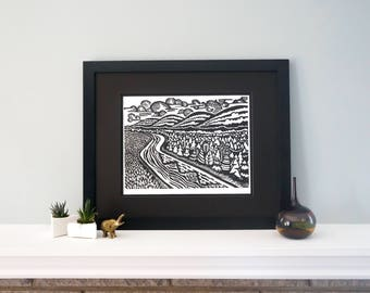The Land - Handmade Woodcut Print featuring  Rolling Hills and River for Your Home! Woodblock Print by DinoCat Studio