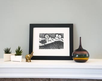 The Lonely Tree - Handmade Woodcut Print with Wilderness, Cloudy Scenery for Your Home! Woodblock Print by DinoCat Studio