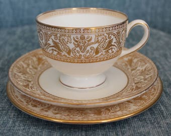 Wedgewood Bone China Gold Florentine Cup and Saucer Trio