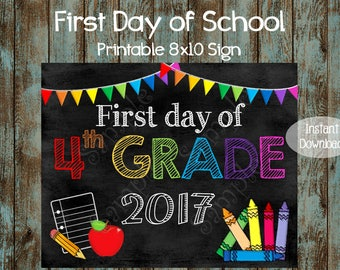 First day of Fourth Grade Sign, First Day of School Sign, Chalkboard First day of School Sign, Chalkboard First Day of Fourth Grade Poster