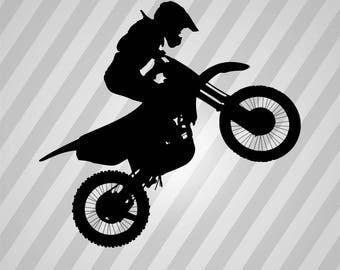 Motocross Silhouette  - Svg Dxf Eps Silhouette Rld Rdworks Pdf Png Ai Files Digital Cut Vector File Svg File Cricut Laser Cut