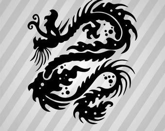 Dragon Silhouette - Svg Dxf Eps Silhouette Rld Rdworks Pdf Png Ai Files Digital Cut Vector File Svg File Cricut Laser Cut