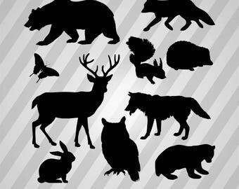 Woodland Animals Silhouette - Svg Dxf Eps Silhouette Rld Rdworks Pdf Png Ai Files Digital Cut Vector File Svg File Cricut Laser Cut