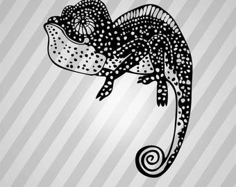 Chameleon Silhouette - Dxf, Svg, Eps, Rld, RDWorks, Pdf, Png and AI Print Files, Digital Cut, Vector File, Svg File