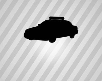 police car Silhouette - Svg Dxf Eps Silhouette Rld RDWorks Pdf Png AI Files Digital Cut Vector File Svg File Cricut Laser Cut