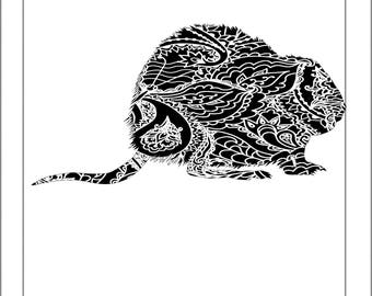 Muskrat Silhouette - Papercut Template Paper Cut Silhouette Pdf Line Art Cut Files
