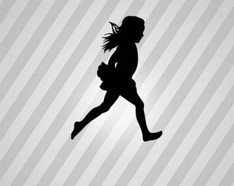 running girl Silhouette - Svg Dxf Eps Silhouette Rld RDWorks Pdf Png AI Files Digital Cut Vector File Svg File Cricut Laser Cut
