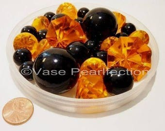 30 Halloween Orange Gems and Jumbo & Assorted Sizes Black Pearls Vase Fillers for Centerpieces and Tablescapes