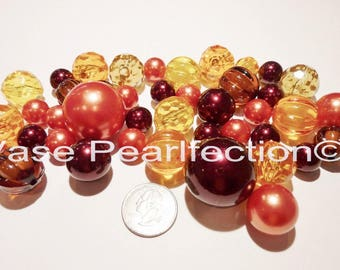40 Fall/Thanksgiving Orange Pearls, Burgundy Pearls/RedWine Pearls in Jumbo & Assorted Sizes with Pumpkin Gems Vase Fillers for Centerpieces
