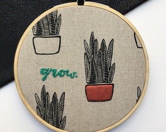 Grow / succulent hoop on plant fabric, stitched by hand