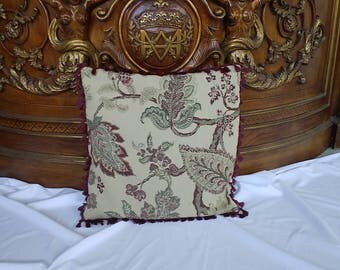 """Pillow cover 21""""x21"""",pillow case, jacquard beige with vine and green sleeve leaves"""