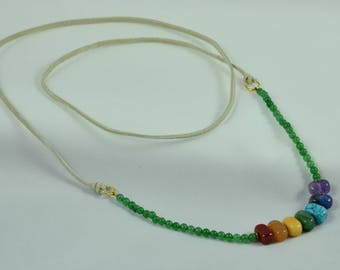 Genuine Chakra Suede Strap Necklace