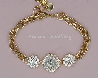 Swarovski Wedding Bracelet Gold Bridal Bracelet Gold Bridesmaid Gift Rhinestone Bracelet Clear Crystal Wedding Jewelry for Brides
