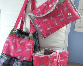 """Large Tote and two kits """"pink elephants"""""""