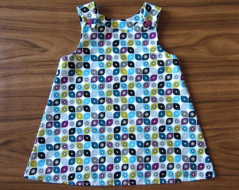 Baby Pinafore Dress / Toddler Dress / Retro Print Dress / 100% Organic Cotton / Size 12-18m